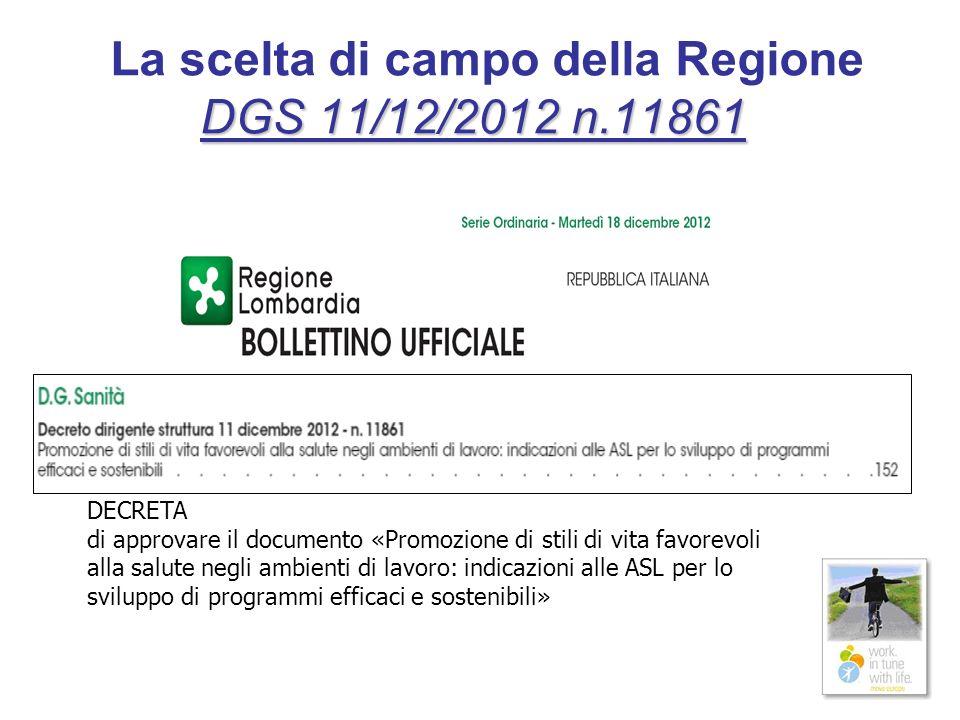 DGS 11/12/2012 n.11861 La scelta di campo della Regione DGS 11/12/2012 n.11861 DECRETA di approvare il documento «Promozione di stili di vita favorevo