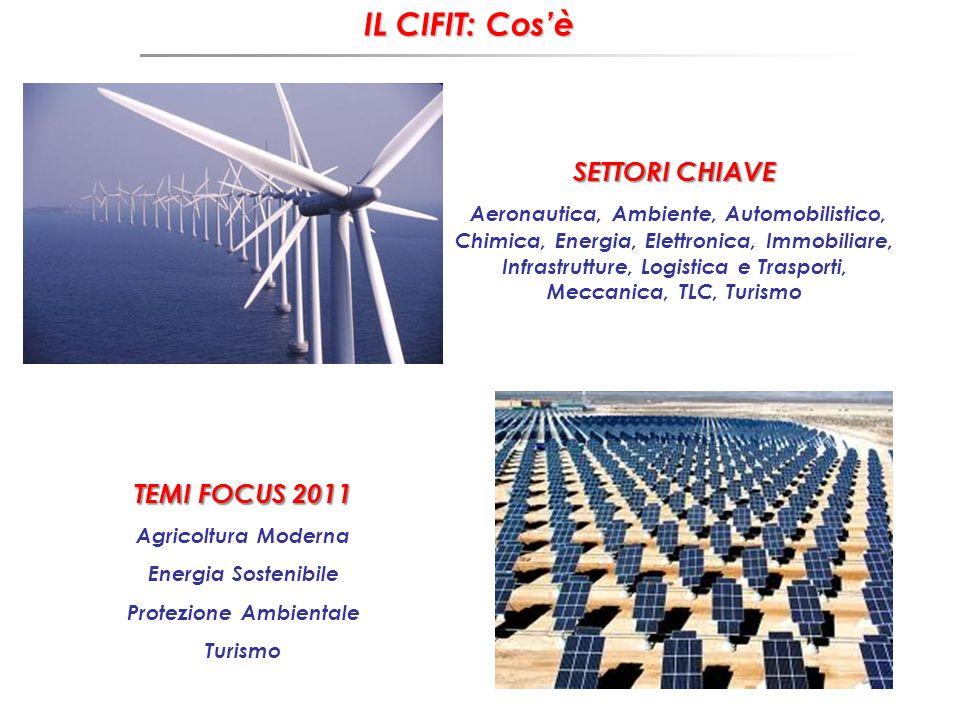 IL CIFIT: Cosè TEMI FOCUS 2011 Agricoltura Moderna Energia Sostenibile Protezione Ambientale Turismo SETTORI CHIAVE Aeronautica, Ambiente, Automobilistico, Chimica, Energia, Elettronica, Immobiliare, Infrastrutture, Logistica e Trasporti, Meccanica, TLC, Turismo