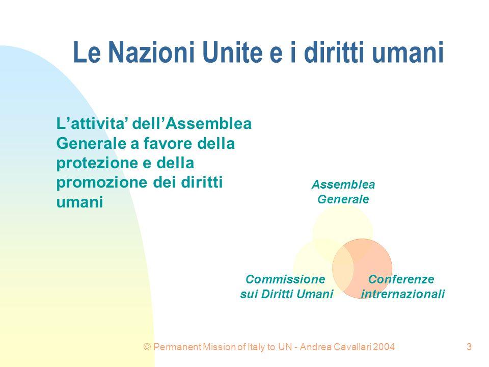 © Permanent Mission of Italy to UN - Andrea Cavallari 20043 Le Nazioni Unite e i diritti umani Lattivita dellAssemblea Generale a favore della protezione e della promozione dei diritti umani Commissione sui Diritti Umani Conferenze intrernazionali Assemblea Generale