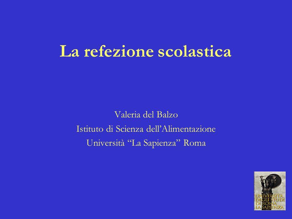 La refezione scolastica Valeria del Balzo Istituto di Scienza dellAlimentazione Università La Sapienza Roma