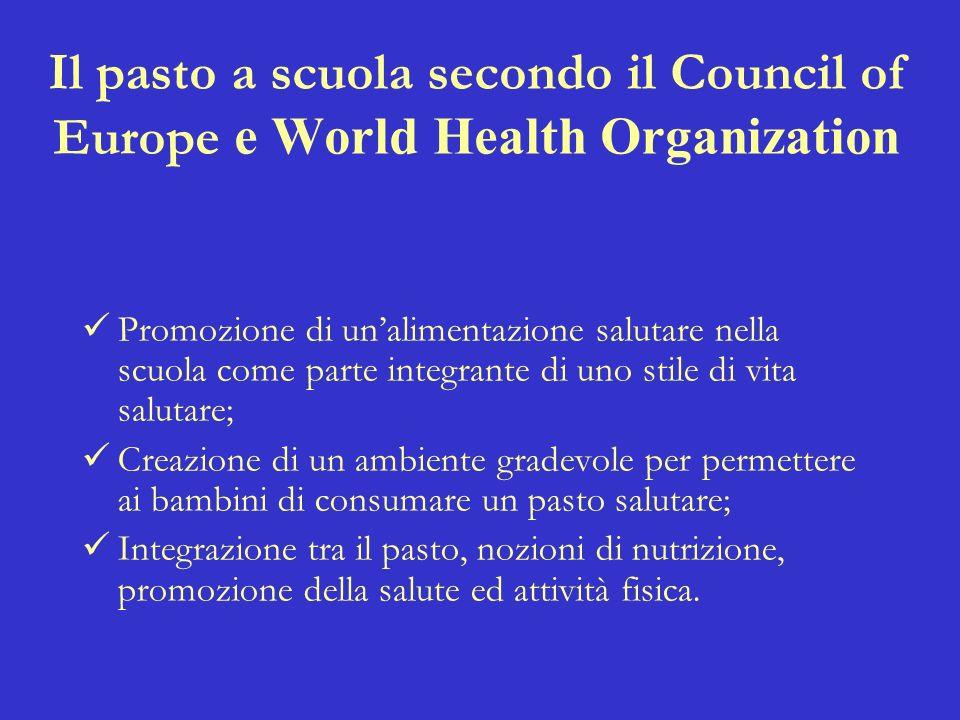 Il pasto a scuola secondo il Council of Europe e World Health Organization Promozione di unalimentazione salutare nella scuola come parte integrante d
