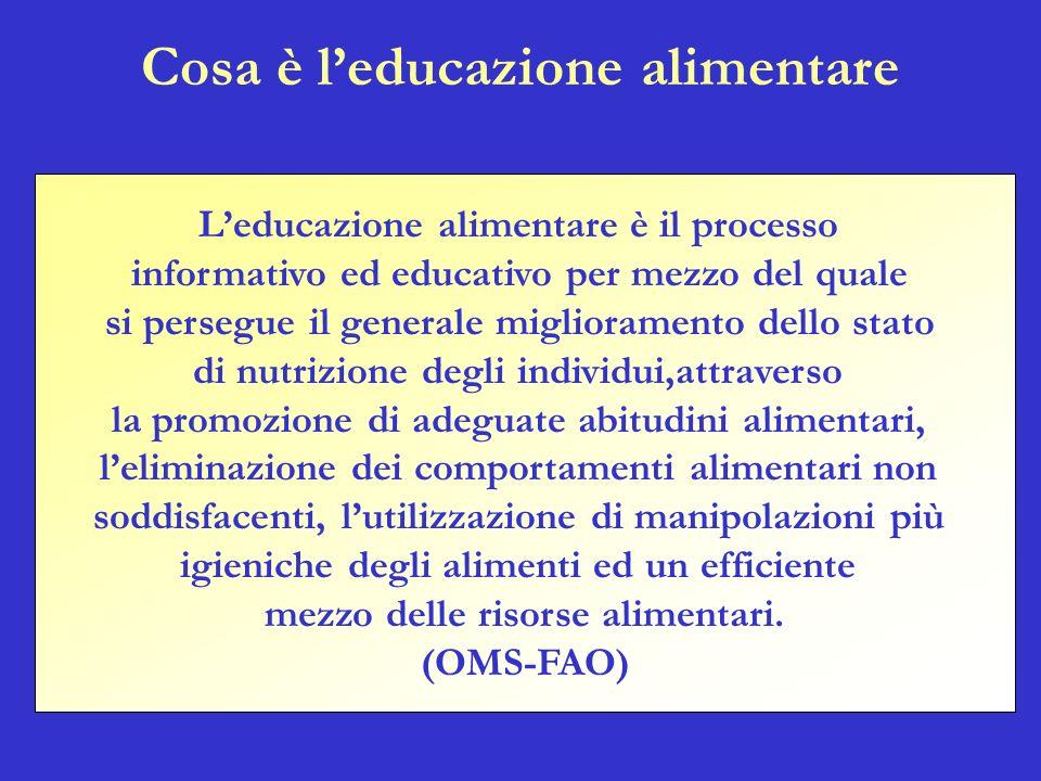 Leducazione alimentare è il processo informativo ed educativo per mezzo del quale si persegue il generale miglioramento dello stato di nutrizione degl