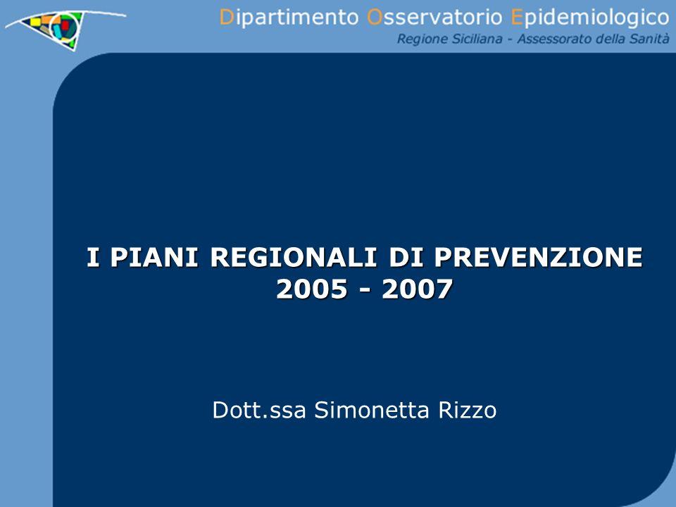 I PIANI REGIONALI DI PREVENZIONE 2005 - 2007 Dott.ssa Simonetta Rizzo