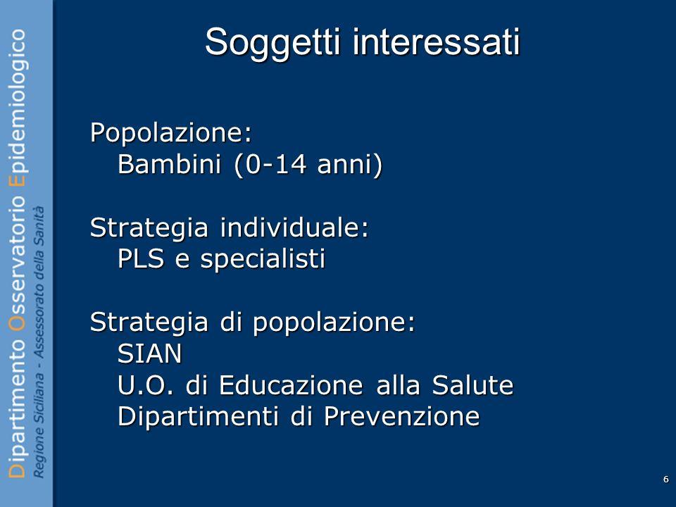 6 Soggetti interessati Popolazione: Bambini (0-14 anni) Bambini (0-14 anni) Strategia individuale: PLS e specialisti PLS e specialisti Strategia di popolazione: SIAN SIAN U.O.