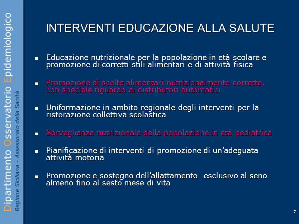 7 INTERVENTI EDUCAZIONE ALLA SALUTE Educazione nutrizionale per la popolazione in età scolare e promozione di corretti stili alimentari e di attività