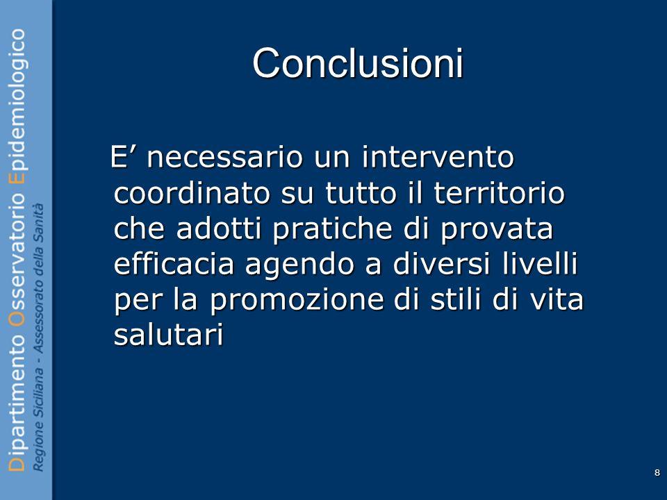 8 Conclusioni E necessario un intervento coordinato su tutto il territorio che adotti pratiche di provata efficacia agendo a diversi livelli per la pr