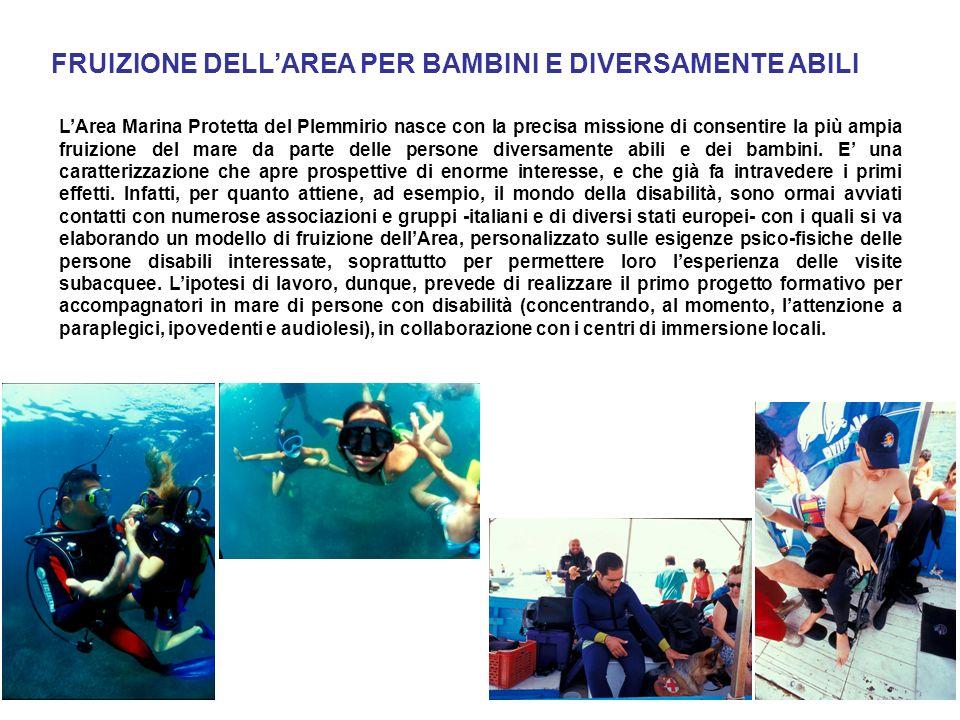 LArea Marina Protetta del Plemmirio nasce con la precisa missione di consentire la più ampia fruizione del mare da parte delle persone diversamente abili e dei bambini.