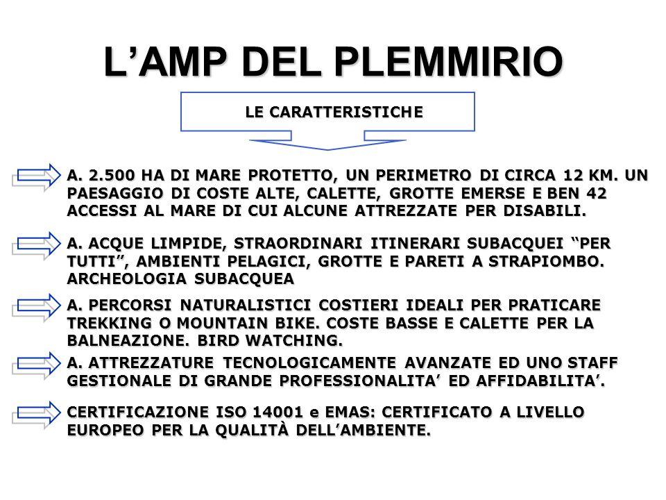 LAMP DEL PLEMMIRIO A.2.500 HA DI MARE PROTETTO, UN PERIMETRO DI CIRCA 12 KM.
