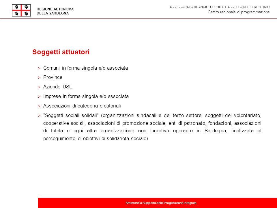 Titolo della presentazione Soggetti attuatori Comuni in forma singola e/o associata Province Aziende USL Imprese in forma singola e/o associata Associ