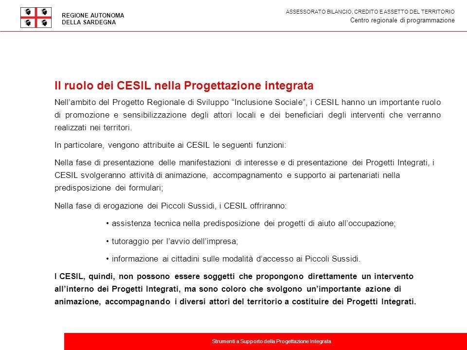 Titolo della presentazione Il ruolo dei CESIL nella Progettazione integrata Nellambito del Progetto Regionale di Sviluppo Inclusione Sociale, i CESIL
