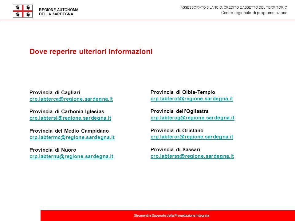 Titolo della presentazione Provincia di Cagliari crp.labterca@regione.sardegna.it Provincia di Carbonia-Iglesias crp.labtersi@regione.sardegna.it Prov