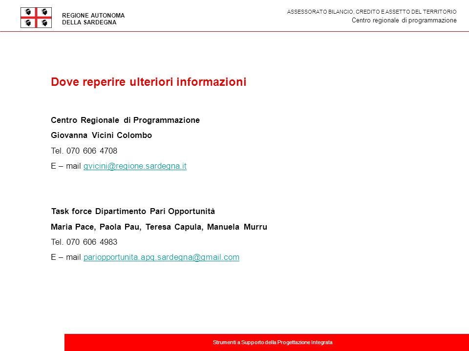 Titolo della presentazione Dove reperire ulteriori informazioni Centro Regionale di Programmazione Giovanna Vicini Colombo Tel. 070 606 4708 E – mail