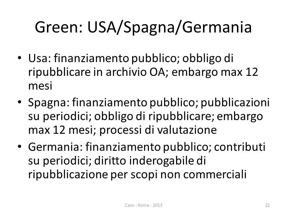 Green: USA/Spagna/Germania Usa: finanziamento pubblico; obbligo di ripubblicare in archivio OA; embargo max 12 mesi Spagna: finanziamento pubblico; pubblicazioni su periodici; obbligo di ripubblicare; embargo max 12 mesi; processi di valutazione Germania: finanziamento pubblico; contributi su periodici; diritto inderogabile di ripubblicazione per scopi non commerciali Caso - Roma - 201322