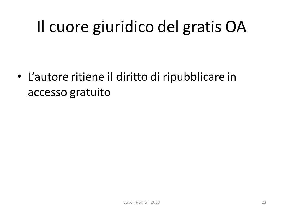 Il cuore giuridico del gratis OA Lautore ritiene il diritto di ripubblicare in accesso gratuito Caso - Roma - 201323