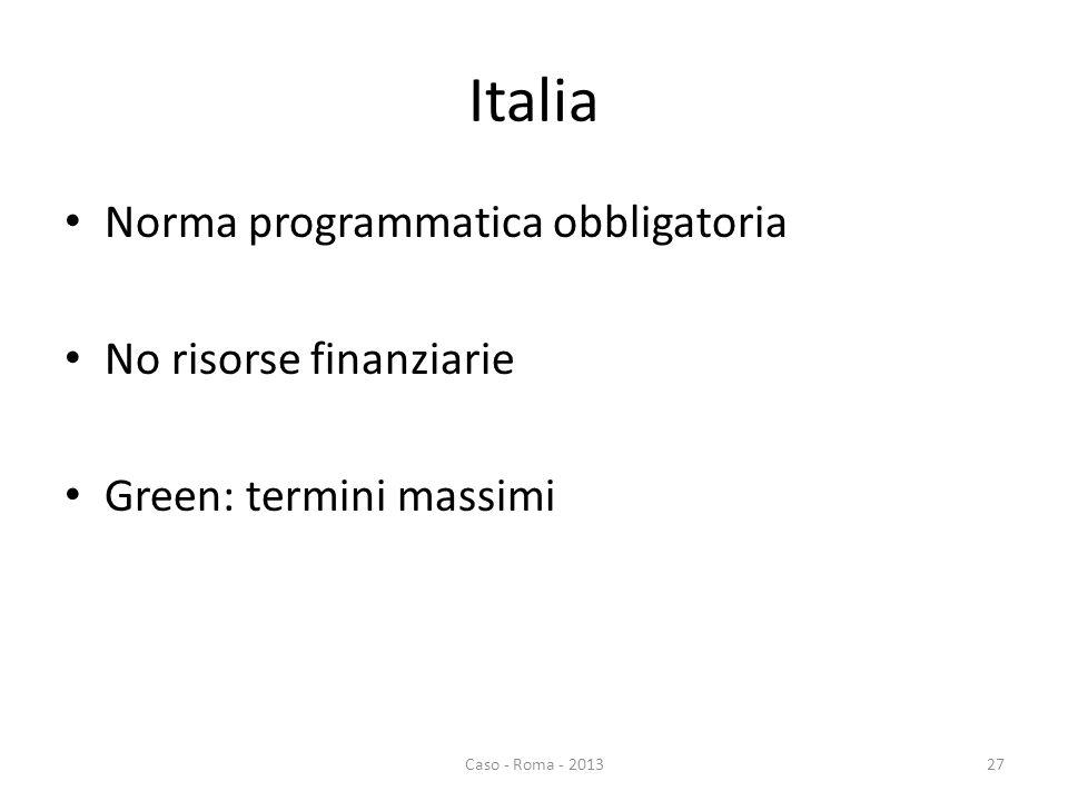 Italia Norma programmatica obbligatoria No risorse finanziarie Green: termini massimi Caso - Roma - 201327