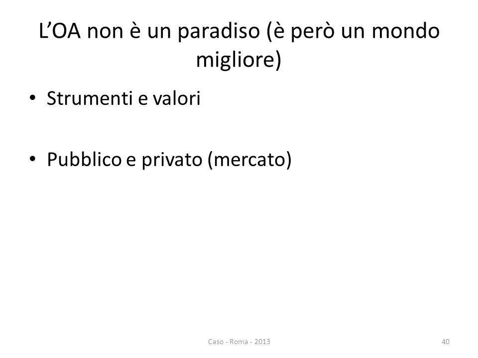LOA non è un paradiso (è però un mondo migliore) Strumenti e valori Pubblico e privato (mercato) Caso - Roma - 201340