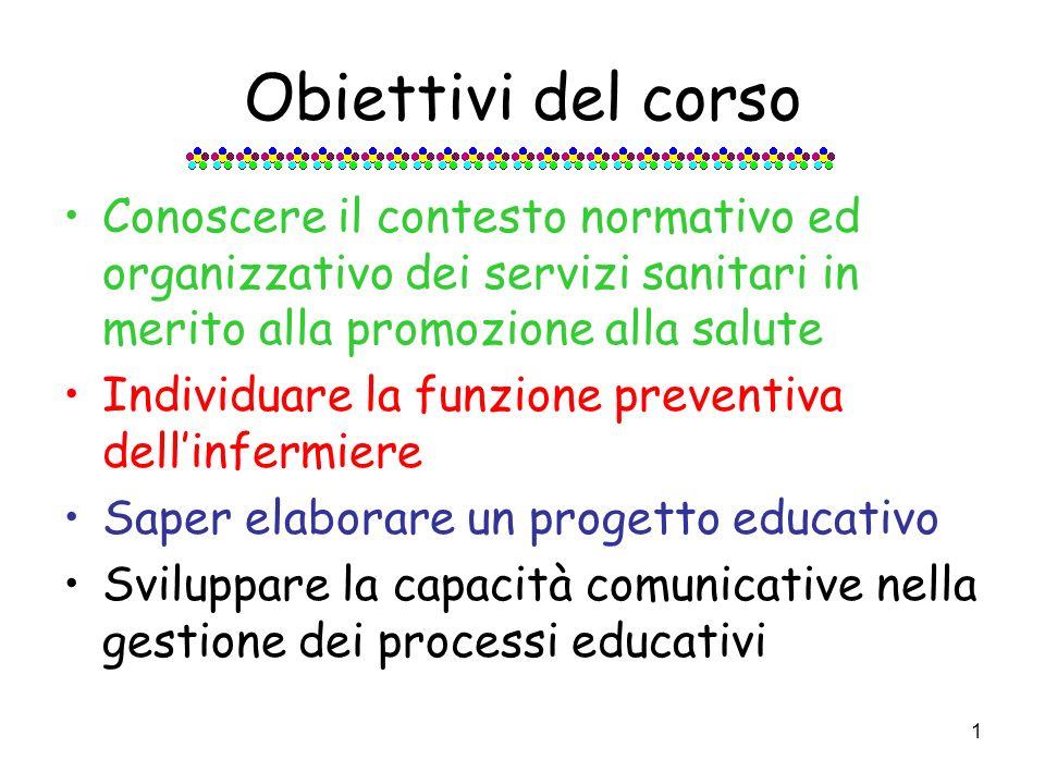 1 Obiettivi del corso Conoscere il contesto normativo ed organizzativo dei servizi sanitari in merito alla promozione alla salute Individuare la funzione preventiva dellinfermiere Saper elaborare un progetto educativo Sviluppare la capacità comunicative nella gestione dei processi educativi