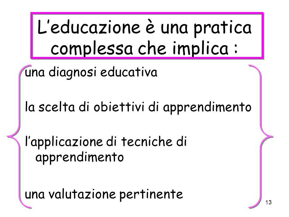 13 Leducazione è una pratica complessa che implica : una diagnosi educativa la scelta di obiettivi di apprendimento lapplicazione di tecniche di apprendimento una valutazione pertinente