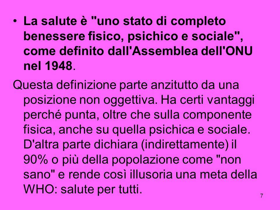 7 La salute è uno stato di completo benessere fisico, psichico e sociale , come definito dall Assemblea dell ONU nel 1948.