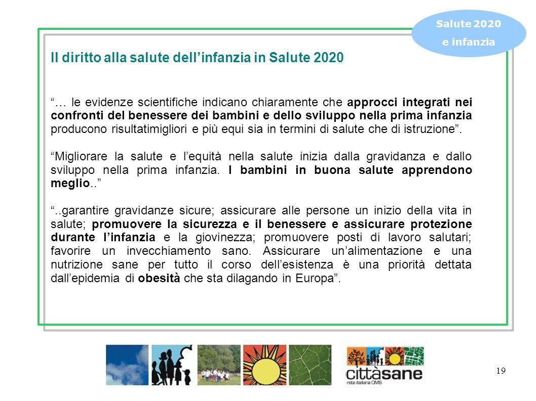 19 Salute 2020 e infanzia Il diritto alla salute dellinfanzia in Salute 2020 … le evidenze scientifiche indicano chiaramente che approcci integrati ne