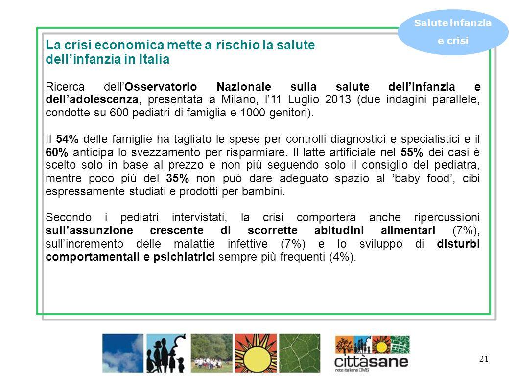 21 Salute infanzia e crisi La crisi economica mette a rischio la salute dellinfanzia in Italia Ricerca dellOsservatorio Nazionale sulla salute dellinf