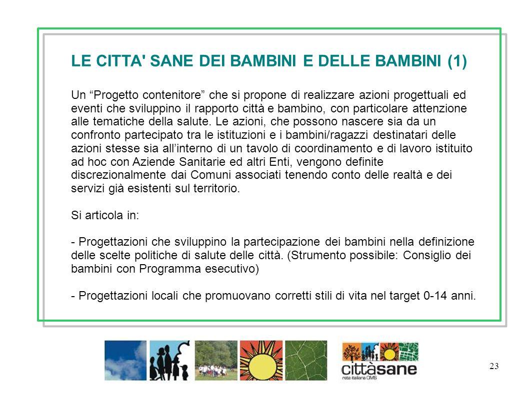 23 LE CITTA' SANE DEI BAMBINI E DELLE BAMBINI (1) Un Progetto contenitore che si propone di realizzare azioni progettuali ed eventi che sviluppino il