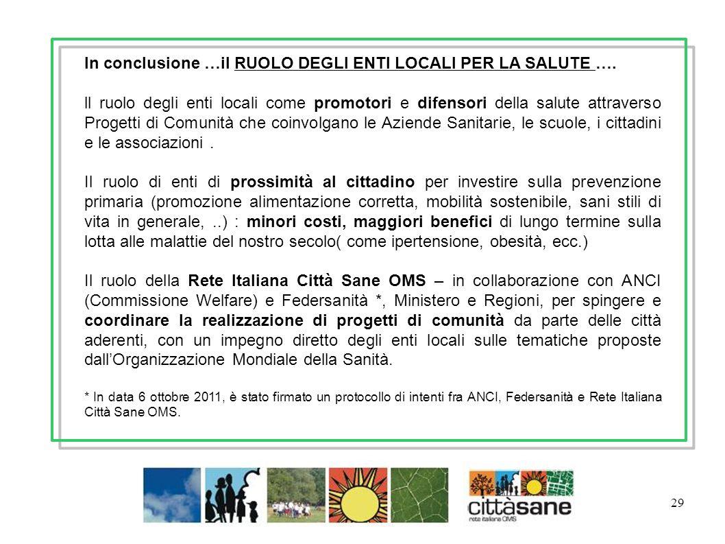 29 In conclusione …il RUOLO DEGLI ENTI LOCALI PER LA SALUTE …. ll ruolo degli enti locali come promotori e difensori della salute attraverso Progetti