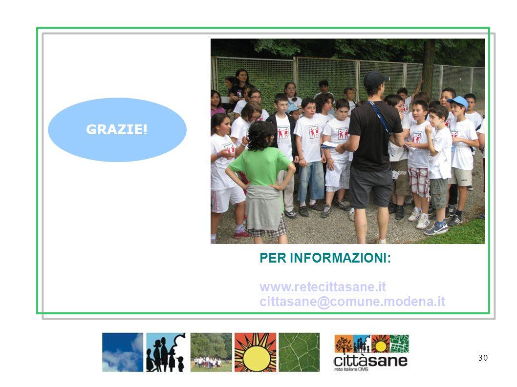 30 GRAZIE! PER INFORMAZIONI: www.retecittasane.it www.retecittasane.it cittasane@comune.modena.it Gennaio 2012