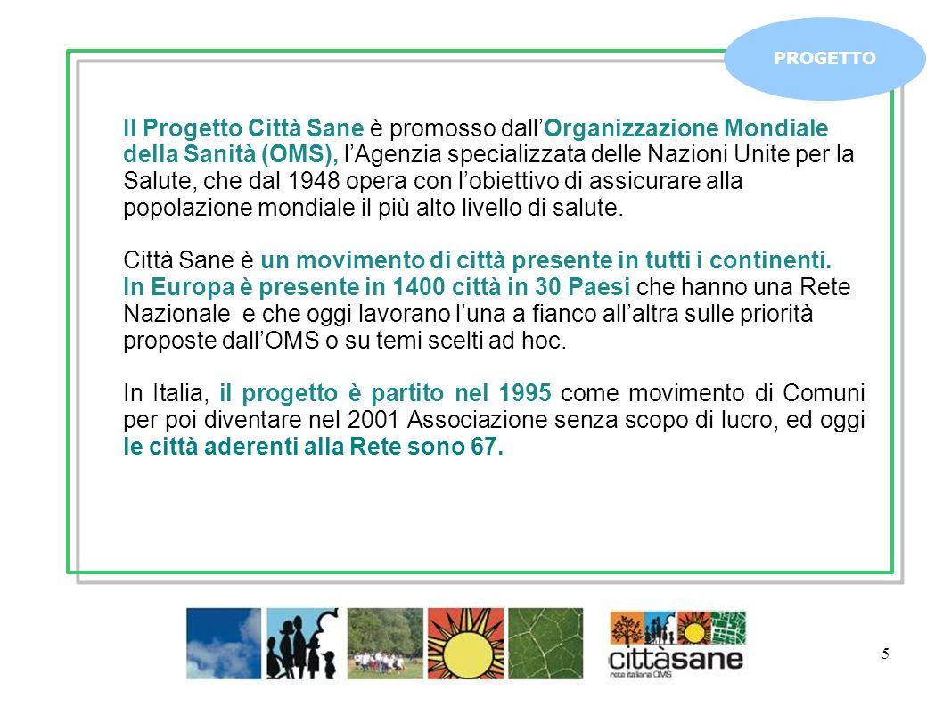 5 PROGETTO Il Progetto Città Sane è promosso dallOrganizzazione Mondiale della Sanità (OMS), lAgenzia specializzata delle Nazioni Unite per la Salute, che dal 1948 opera con lobiettivo di assicurare alla popolazione mondiale il più alto livello di salute.