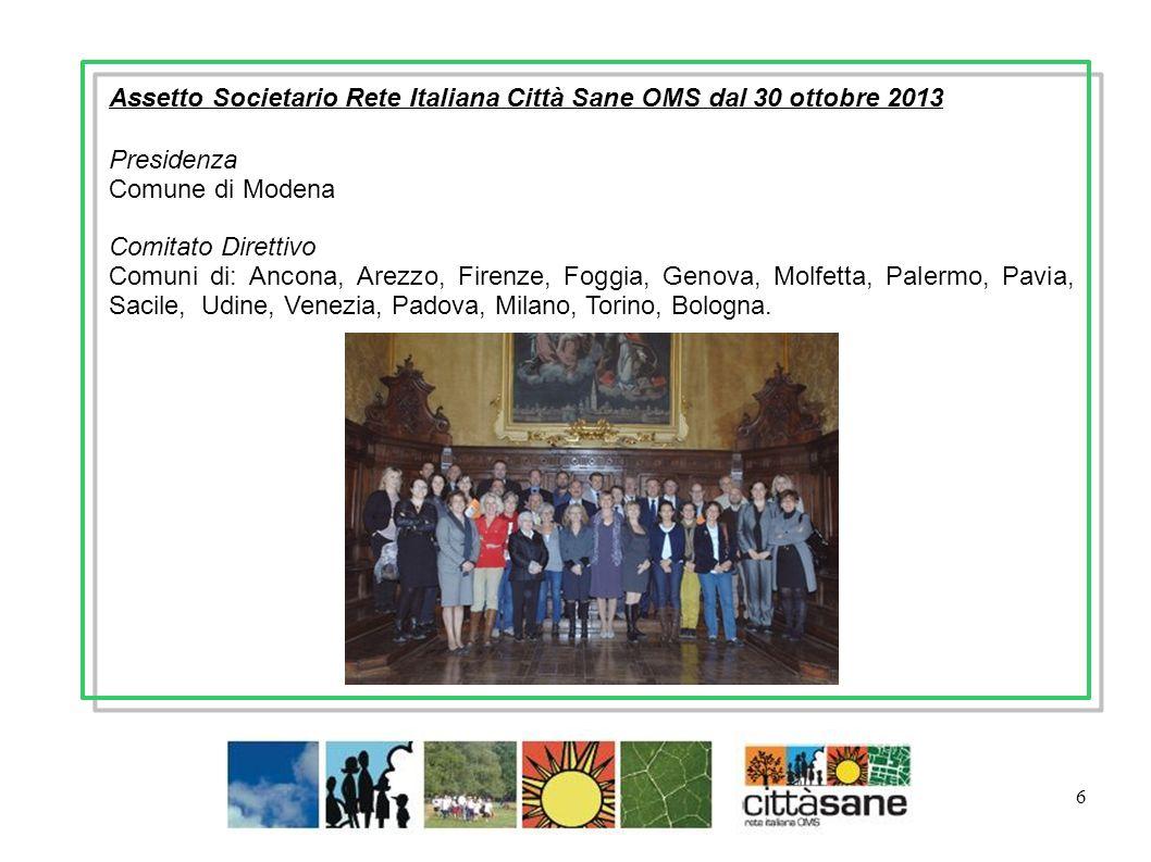 6 Assetto Societario Rete Italiana Città Sane OMS dal 30 ottobre 2013 Presidenza Comune di Modena Comitato Direttivo Comuni di: Ancona, Arezzo, Firenz