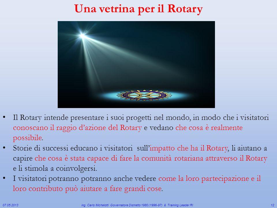 07.05.2013 ing. Carlo Michelotti Governatore Distretto 1980 (1996-97) & Training Leader RI12 Il Rotary intende presentare i suoi progetti nel mondo, i