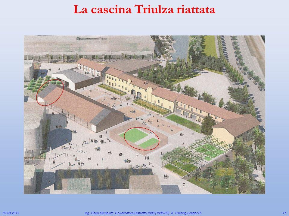 07.05.2013 ing. Carlo Michelotti Governatore Distretto 1980 (1996-97) & Training Leader RI17 La cascina Triulza riattata