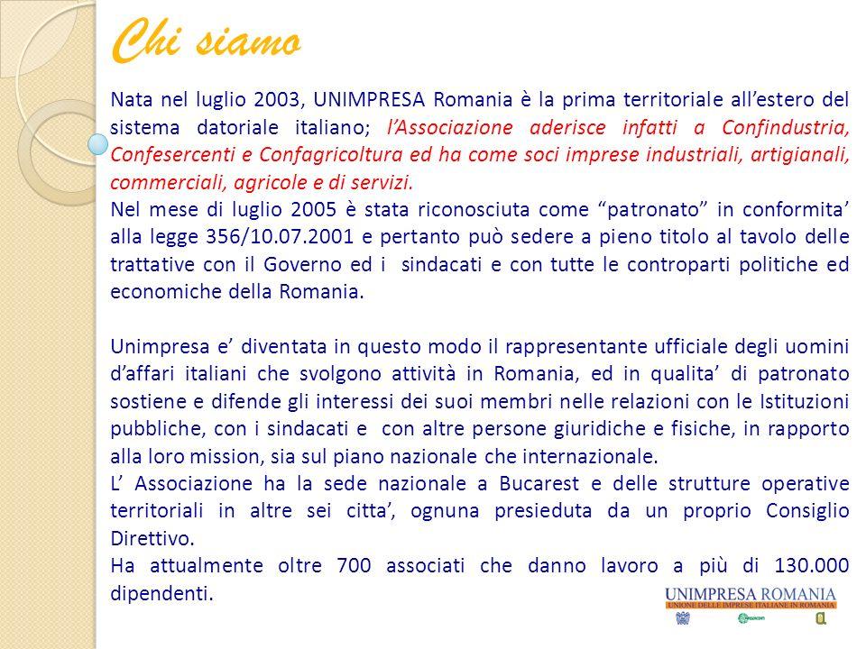 Chi siamo Nata nel luglio 2003, UNIMPRESA Romania è la prima territoriale allestero del sistema datoriale italiano; lAssociazione aderisce infatti a Confindustria, Confesercenti e Confagricoltura ed ha come soci imprese industriali, artigianali, commerciali, agricole e di servizi.