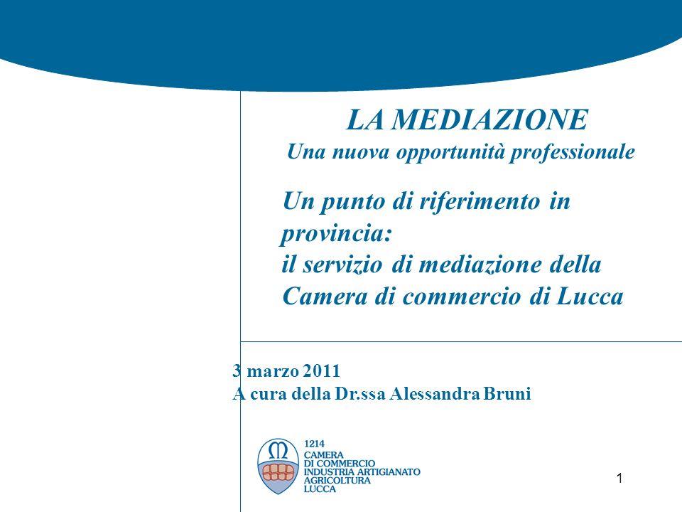 1 LA MEDIAZIONE Una nuova opportunità professionale Un punto di riferimento in provincia: il servizio di mediazione della Camera di commercio di Lucca