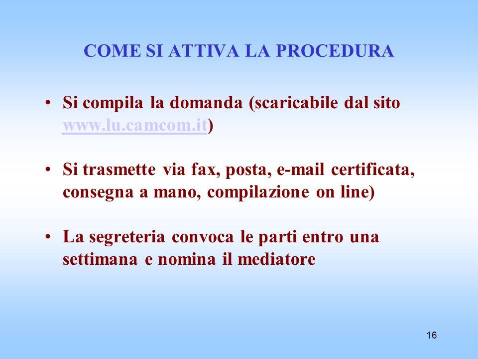 16 COME SI ATTIVA LA PROCEDURA Si compila la domanda (scaricabile dal sito www.lu.camcom.it) www.lu.camcom.it Si trasmette via fax, posta, e-mail cert
