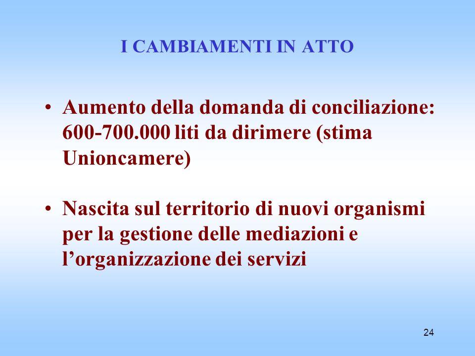 24 I CAMBIAMENTI IN ATTO Aumento della domanda di conciliazione: 600-700.000 liti da dirimere (stima Unioncamere) Nascita sul territorio di nuovi orga