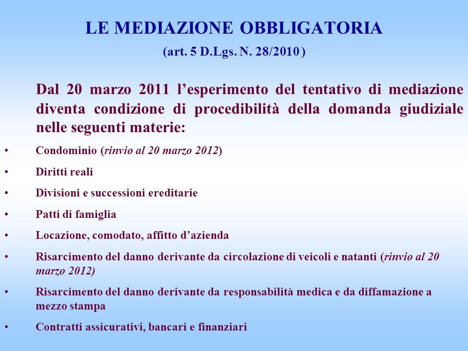 LE MEDIAZIONE OBBLIGATORIA (art. 5 D.Lgs. N. 28/2010 ) Dal 20 marzo 2011 lesperimento del tentativo di mediazione diventa condizione di procedibilità