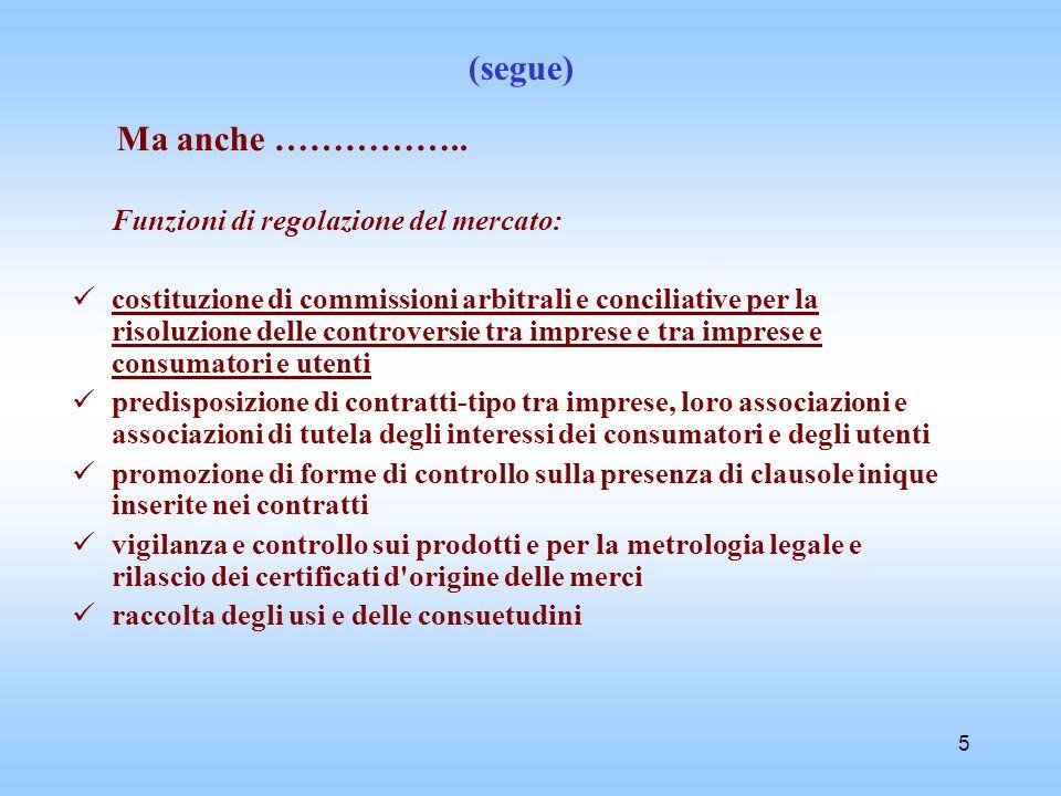 5 (segue) Ma anche …………….. Funzioni di regolazione del mercato: costituzione di commissioni arbitrali e conciliative per la risoluzione delle controve