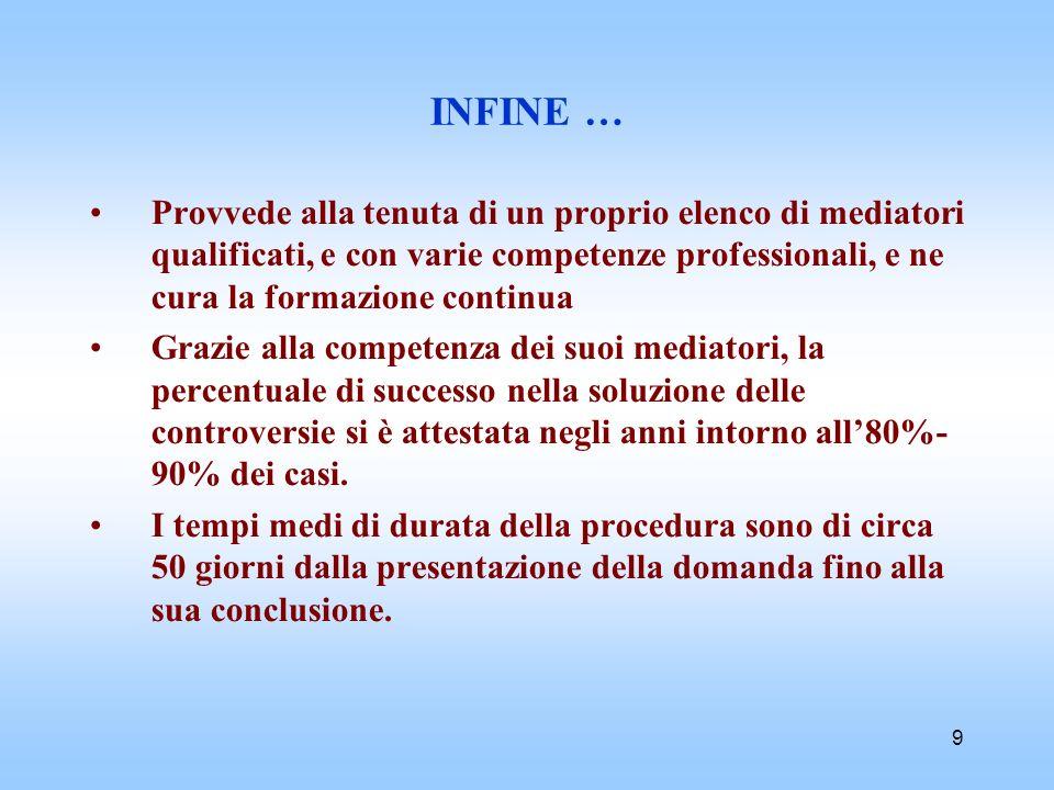 9 INFINE … Provvede alla tenuta di un proprio elenco di mediatori qualificati, e con varie competenze professionali, e ne cura la formazione continua