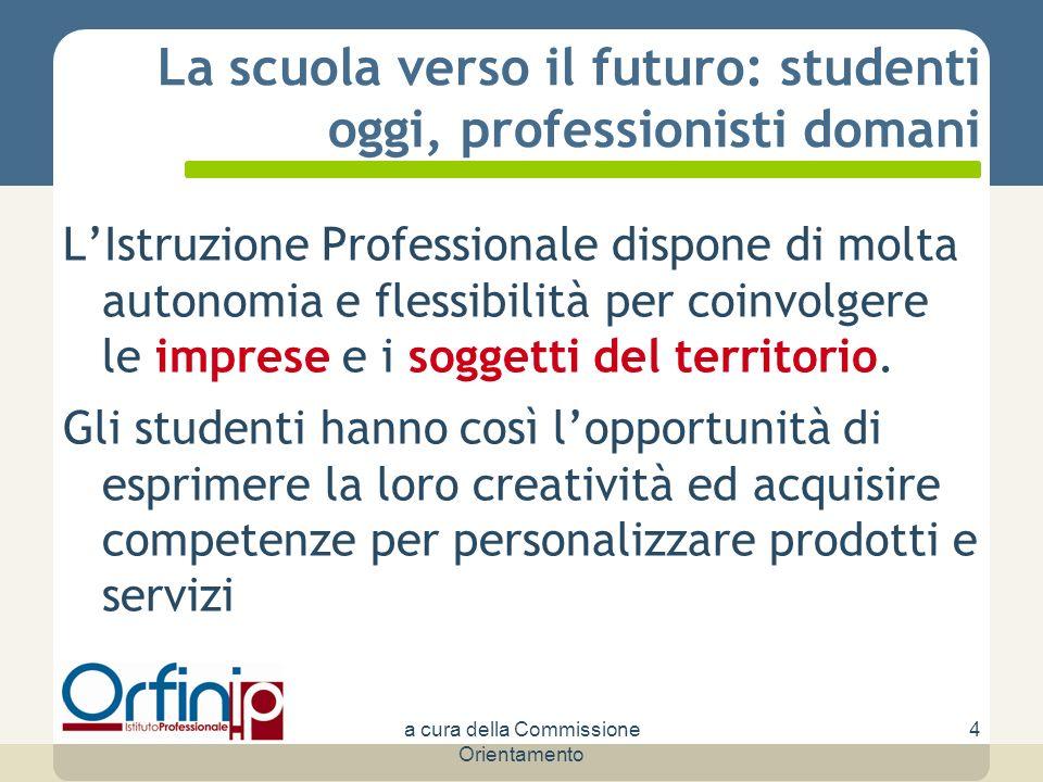 La scuola verso il futuro: studenti oggi, professionisti domani LIstruzione Professionale dispone di molta autonomia e flessibilità per coinvolgere le imprese e i soggetti del territorio.