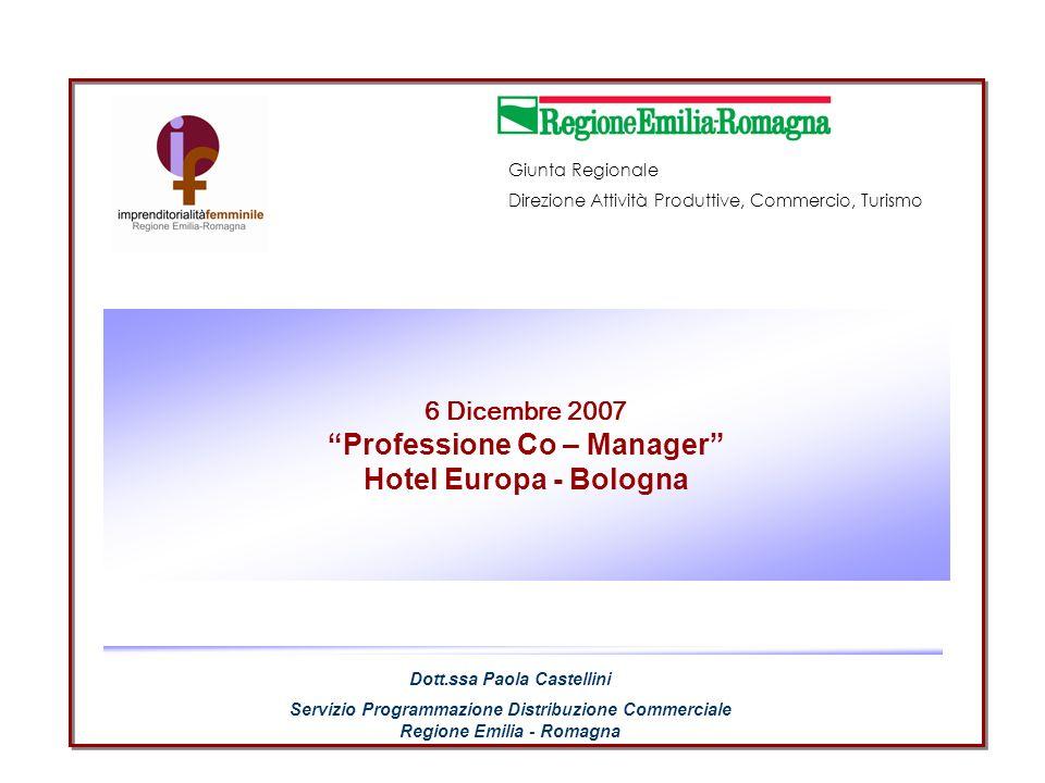 Giunta Regionale Direzione Generale Attività Produttive, Commercio, Turismo Dr.ssa Paola Castellini Servizio Programmazione della Distribuzione Commerciale Emilia - Romagna 6 Dicembre 2007 INIZIATIVE X LA QUALITA Nei contributi alle imprese emiliano- romagnole per progetti di qualità e innovazione organizzativa (Misura 2.1, Azione A) Fra i criteri di valutazione dei progetti si è promossa la valorizzazione delle risorse umane anche nellottica del riconoscimento delle diversità di genere attribuendo un punteggio aggiuntivo fino a 38 punti.