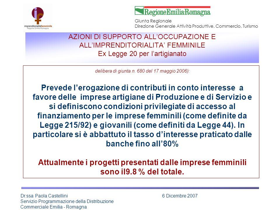 Giunta Regionale Direzione Generale Attività Produttive, Commercio, Turismo Dr.ssa Paola Castellini Servizio Programmazione della Distribuzione Commer