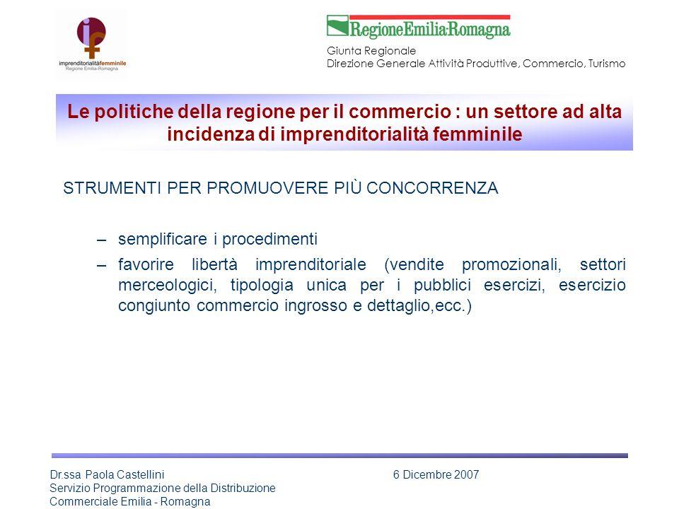 Giunta Regionale Direzione Generale Attività Produttive, Commercio, Turismo Dr.ssa Paola Castellini Servizio Programmazione della Distribuzione Commerciale Emilia - Romagna 6 Dicembre 2007 Anno 2006 - QUOTA FEMMINILE CON ATTIVITA PREVALENTE IN IMPRESE ATTIVE NEL COMMERCIO AL DETTAGLIO (ATECO G52) SECONDO IL TIPO DI CARICA