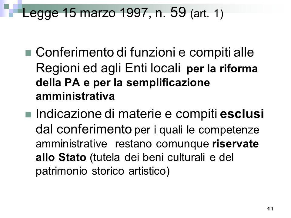 10 LA DELEGA AL GOVERNO PER IL RIORDINO DEI MINISTERI La Legge 15 marzo 1997, n. 59 art. 11, lett.a) art. 12: principi e criteri direttivi
