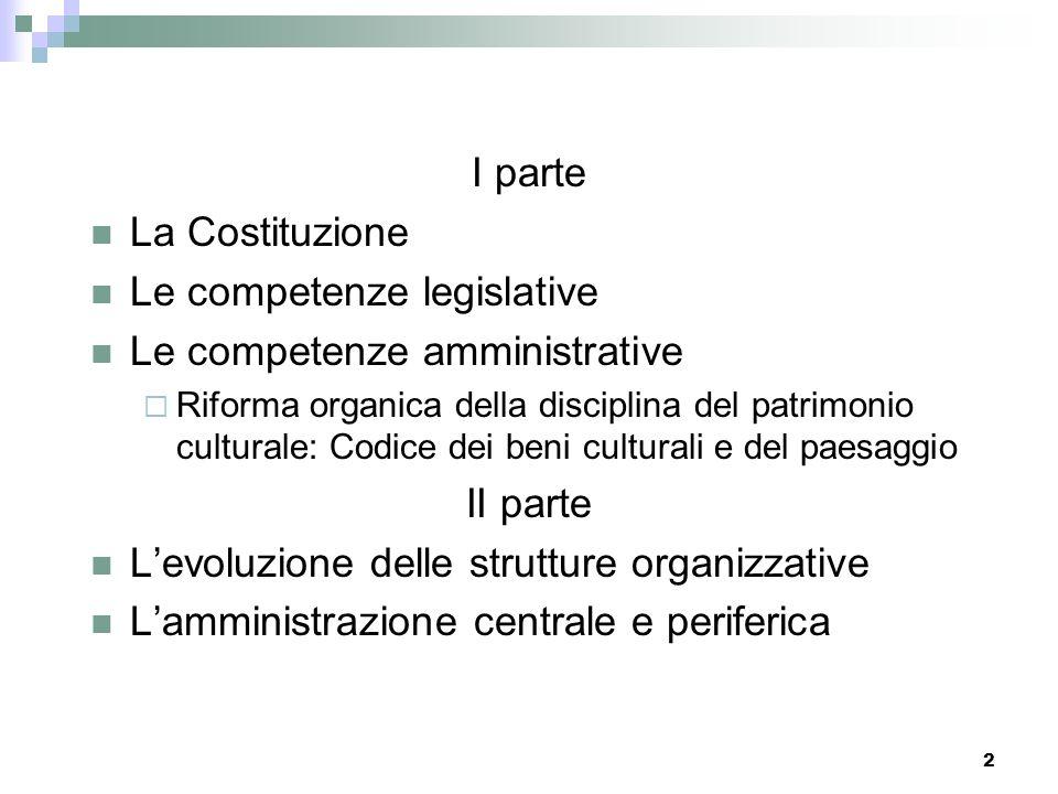 1 Legislazione e Organizzazione Corso di formazione per passaggi tra le aree A-B1 Le Competenze e lOrganizzazione del Ministero per i beni e le attivi