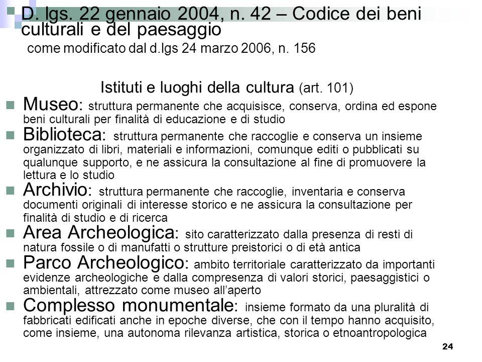 23 D. lgs. 22 gennaio 2004, n. 42 – Codice dei beni culturali e del paesaggio come modificato dal d.lgs 24 marzo 2006, n. 156 Gli Istituti e i luoghi