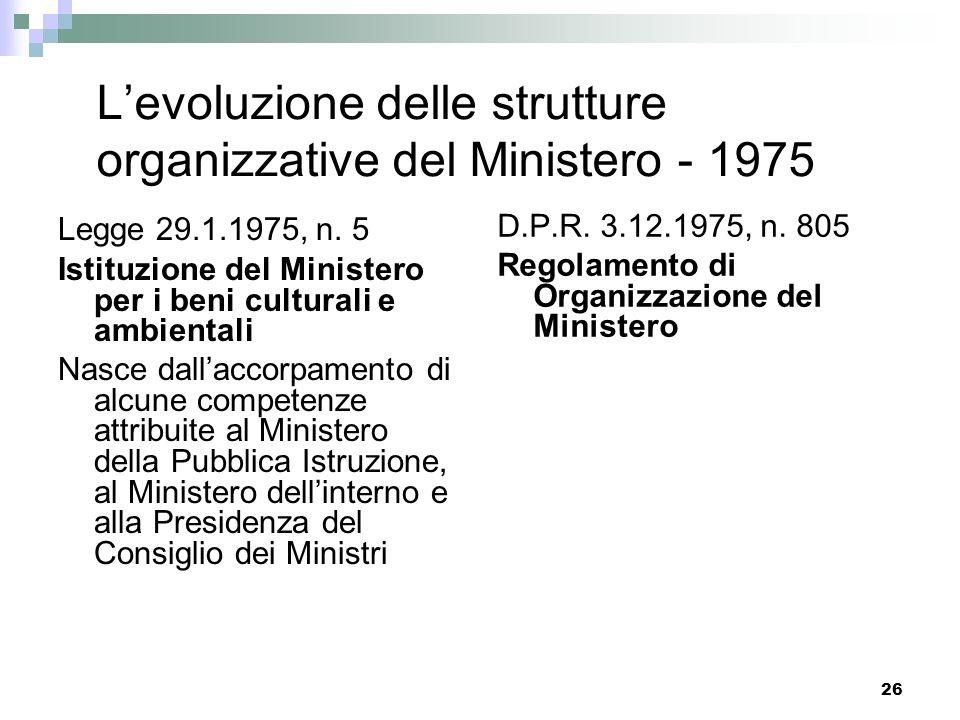25 Levoluzione delle strutture organizzative Dalla nascita del Ministero ai più recenti provvedimenti organizzativi