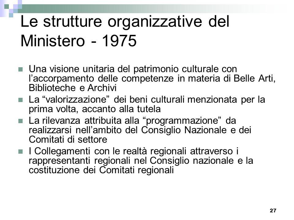 26 Levoluzione delle strutture organizzative del Ministero - 1975 Legge 29.1.1975, n. 5 Istituzione del Ministero per i beni culturali e ambientali Na