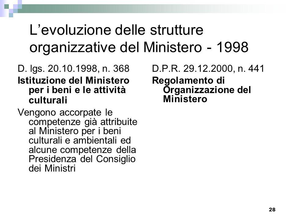 27 Le strutture organizzative del Ministero - 1975 Una visione unitaria del patrimonio culturale con laccorpamento delle competenze in materia di Bell