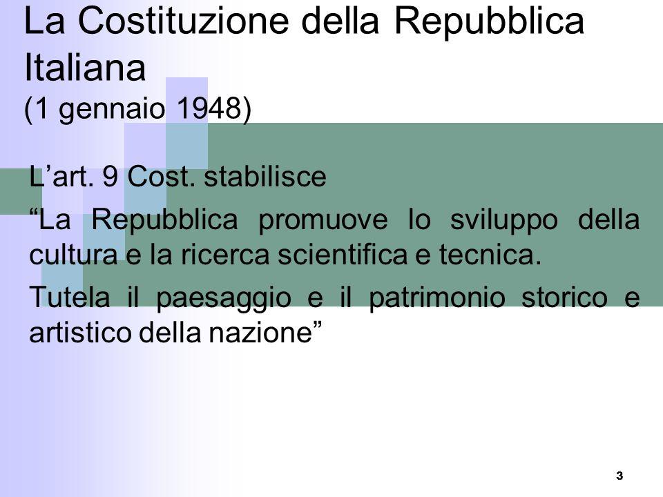 2 Agenda I parte La Costituzione Le competenze legislative Le competenze amministrative Riforma organica della disciplina del patrimonio culturale: Co